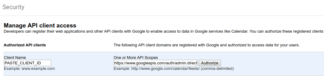 manage api client access in Google Admin Security settings