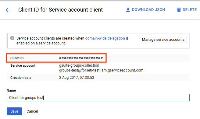 service account panel with client ID highlighted